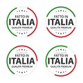 Set of four Italian icons, Italian title Made in Italy, premium quality stickers and symbols