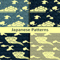 Set of four japanese traditional cloudy patterns