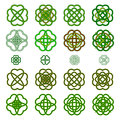 Set Four leaf clover shaped knot in green colours, Celtic style,