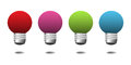 Set of four light bulbs colored in red pink green and blue isolated on a white background Royalty Free Stock Images