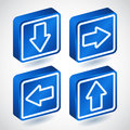 Set of four lighting blue buttons with arrows Royalty Free Stock Photo