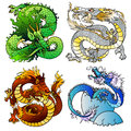 Set four majestic Asian color dragon Royalty Free Stock Photo