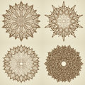 Set of four mandalas. Beautiful flowers. Royalty Free Stock Photo