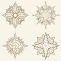 Set of four mandalas beautiful hand drawn flowers ethnic lace round ornamental pattern can be used to fabric design decorative Royalty Free Stock Photo