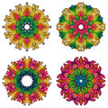 Set of four mandalas. Royalty Free Stock Photo