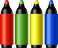 Set of four markers (red, green, yellow, blue) Royalty Free Stock Photos