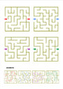 Set of four maze game templates with answers collection different square suitable for various designs and projects from games and Stock Image