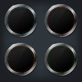 Set of four metal glossy buttons Royalty Free Stock Photo