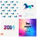 Set of four New Year symbols. Blue horse.Vector retro supply, hi Royalty Free Stock Photo