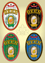 Set of four oval labels for beer vector Royalty Free Stock Images