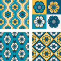 Set of four patterns with abstract flowers Royalty Free Stock Photo