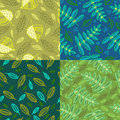 Set of four patterns with leaves Royalty Free Stock Photo