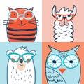 Set of four portraits cat, bear, llama, owl