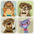 Set of four portraits of dogs and cats wearing hipster accessories vector Stock Photography