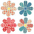 Set of four quilt flower Stock Images