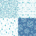 Set of four raindrops seamless patterns vector backgrounds with silhouette elements Stock Photos