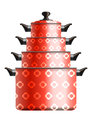 Set of four red cooking pots painted with flower pattern standing in pyramide eps Royalty Free Stock Photo