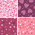 Set of four romantic hearts seamless patterns vector backgrounds with pink and red elements Stock Images