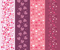 Set of four romantic hearts vertical seamless vector patterns backgrounds ornaments with pink and red elements Stock Photography