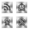 Set of four rss metallic icon buttons Royalty Free Stock Photography