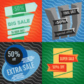 Set of four sale vector bannes with colorful design elements.