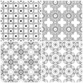 Set of four seamless abstract floral grids Royalty Free Stock Photo