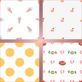 Set of four seamless backgrounds. Ice cream, cake, cracker and candy Royalty Free Stock Photo