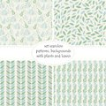 Set of four seamless backgrounds, patterns of plants, leaves and branches of leaves in pastel colors of green and blue shades . Royalty Free Stock Photo