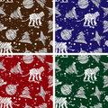 Set of four seamless Christmas backgrounds for  2016 Year of Monkey Royalty Free Stock Photo