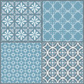 Set of four seamless geometric pattern vector Stock Image