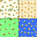 Set of four Seamless pattern of cartoon bees, hive and honey. Vector illustration Wallpaper background
