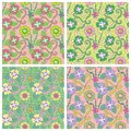 Set of four seamless pattern fresh vector vector illustration Stock Image