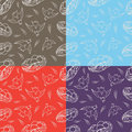 Set of four seamless pattern happy birds and nests with eggs