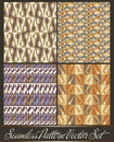 Set of four seamless pattern in retro style - vect Stock Photo