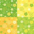 Set of four seamless patterns with flowers spring various colors Stock Images