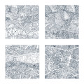 Set of four seamless patterns with hand-drawn doodle waves and lines. Royalty Free Stock Photo
