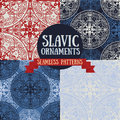 Set of four seamless patterns in slavic/medieval/ethnic style Royalty Free Stock Photo