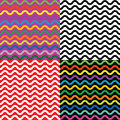 Set of four seamless patterns with wavy lines Royalty Free Stock Photo