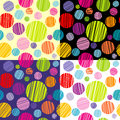 Set of four seamless pattersns with round shapes Royalty Free Stock Photo