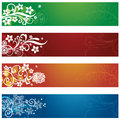 Set of four seasonal flowers and snowflakes banners Royalty Free Stock Photo