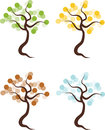 Set of four seasons trees color illustration spring summer autumn and winter tree Stock Image