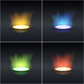 Set of four shiny rays in different colors Royalty Free Stock Image