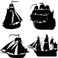 Set of four ship silhouettes Stock Photo