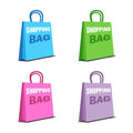 Set of four shopping bags on a white background concept Stock Photography