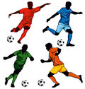 Set of four soccer players Stock Photos