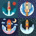 Set of four space rocket ships. Space rocket launch.
