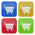 Four square color icons, shopping cart Royalty Free Stock Photo