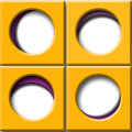 Set four squares orange purple circular window illustrations Stock Photo