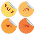 Set of four stickers for autumn sale Stock Photos