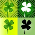 Set of four stylized  clover leaves Stock Photography